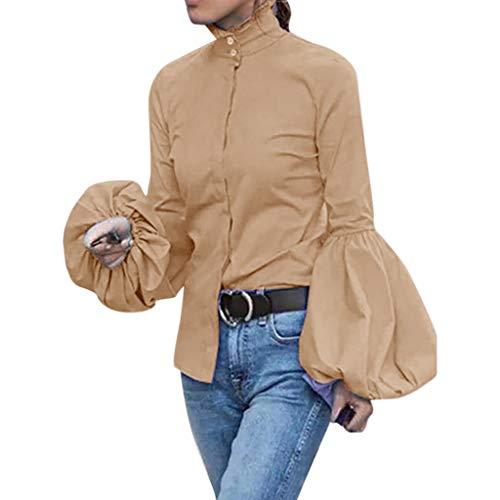 Evansamp_Sweater Tops für Frauen,Evansamp Art- Und Weisedamen Beiläufige Volle Hülsen-Laterne-Hülsen-Hoher Kragen-Feste Feste Bluse(Khaki,XL) -