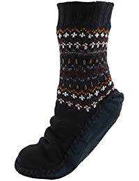 RJM Mens Fairisle Slipper Socks with Moleskin Soles Navy Blue
