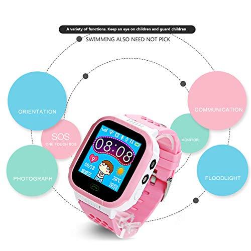 melysEU Reloj inteligente para niños - Relojes inteligentes a prueba de agua para niños Smartwatch GPS Juegos de cámara táctiles Rastreador de luz Reloj de pulsera Android Cámara móvil Teléfono celular (Rosa)