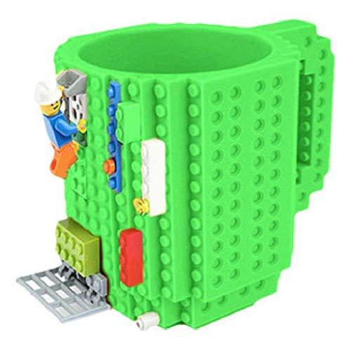 Soyion Kreativer Building Brick Mug DIY Brick Tasse DIY-Montage Kaffeetasse Becher,Weihnachten Geschenk Idee(Grün)