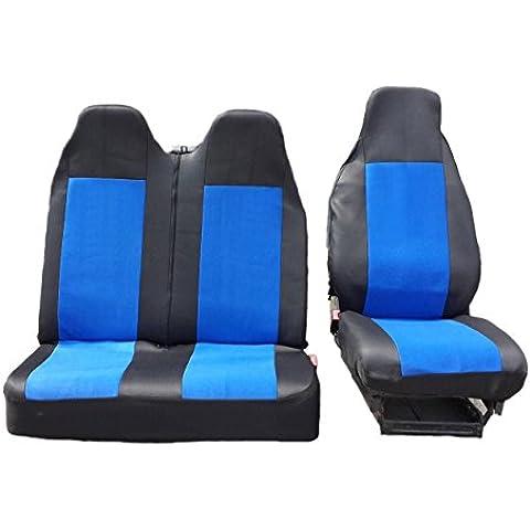 2+ 1Talla 2Negro para asiento azul colchón de asiento fundas de asiento, fundas para Volkswagen Transporter V Front