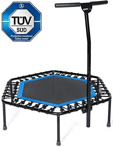 SportPlus TÜV-geprüftes Fitness-Trampolin (Ø 126cm) mit Griff, Gummiseil-System, höhenverstellbarem Haltegriff & Randabdeckung, Indoor Trampolin, Fitnesstrampolin für zuhause