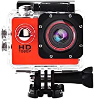 Action Camera Full HD 2.0 Inch, 1080P 12MP Sports Camera,Action Cam Underwater 30m/98ft Waterproof Camera, Mou