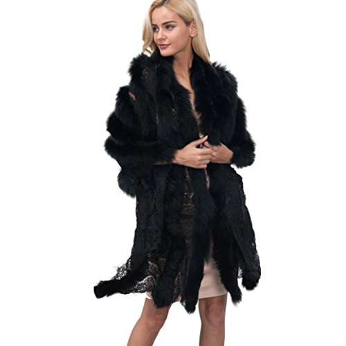 Faux Pelz Poncho Damen, DoraMe Frauen Capes Faux Pelz Spitzen Stitching Mantel Neue Warm Jacke Winter Parka (Freie Größe, Schwarz) (Faux-pelz-fransen)