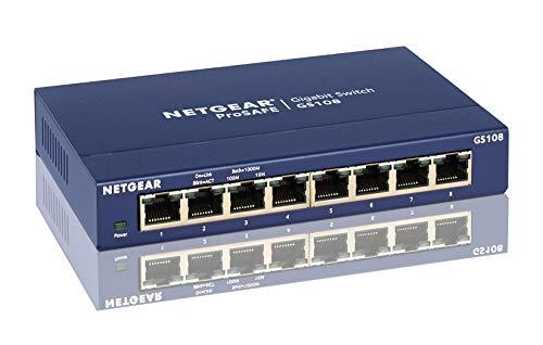 Netgear GS108GE 8 Port Unmanaged Gigabit Kupfer Switch (bis zu 1000 MBit/s Datenübertragung, Plug-and-Play, lüfterlos, Metallgehäuse)