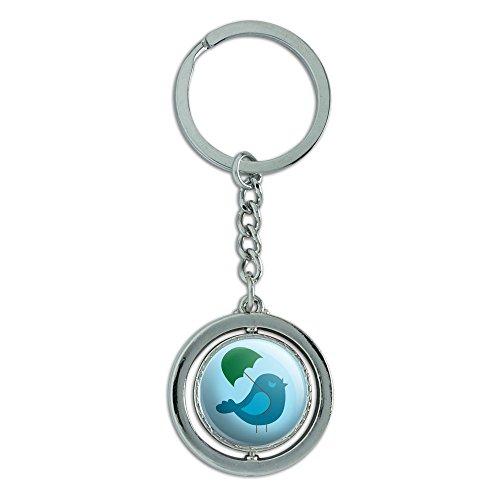 te Bird Baby Vogel Boy Dusche Spinning rund Metall Schlüsselanhänger Schlüsselanhänger Ring ()