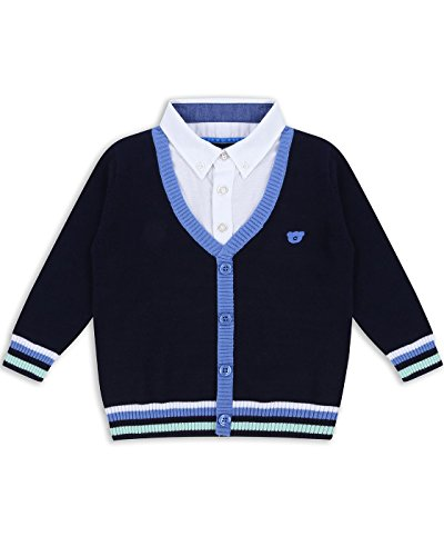 The Essential One - Baby Kids Boys Mock Shirt-Cardigan - Bailey Bear - 12-18 M - Navy Blue - EOT196