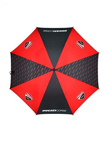 Ducati Corse Regenschirm 2018 (große Golfgröße), Schwarz/Rot mit offiziellem Ducati-Logo
