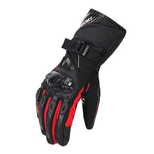 MYSdd Guanti da moto per uomo guanti da moto invernali impermeabili e antivento al 100% touch screenWP-02 RedM