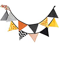 ZYCX123 Halloween Vintage Banners Cotton Fabric Buntings Garlands 12 Flags Halloween Party Decoration Orange Banner Pennant Rustic Hanging Decor 10.5 Feet