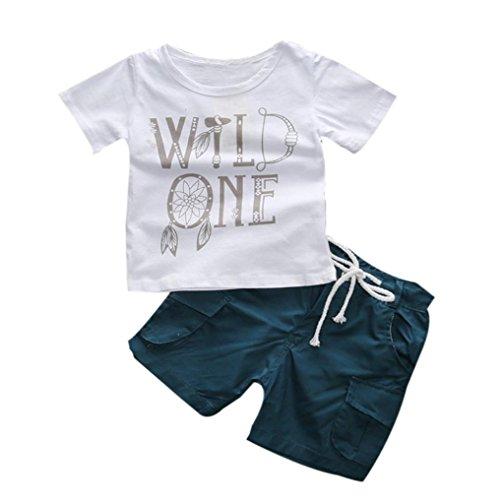 SHOBDW Boys Clothing Sets, 1Set Kids Toddler Boys Letter Print T-Shirt+Shorts Trousers Clothes Outfits