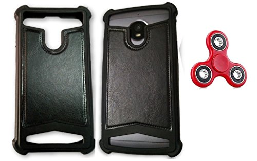 BKDT Marketing Rubber and Leather Soft Back Cover for Panasonic T31- Black with Fidget Spinner  available at amazon for Rs.399