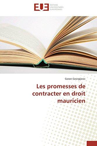 Les promesses de contracter en droit mauricien