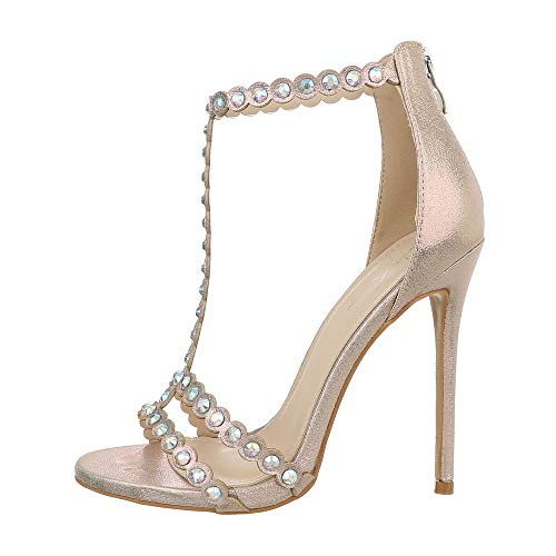 Ital-Design Damenschuhe Sandalen & Sandaletten High Heel Sandaletten Synthetik Gold Gr. 37 Gold High Heel Sandaletten