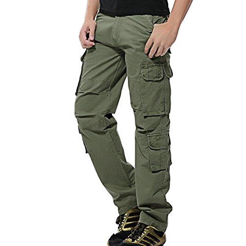 AYG Herren Cargo Hose Baumwolle Militär Hose Wandern Cargo Pants (Grün(Army Green Nr.25), W42/L33(42