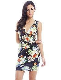 AX Paris - Figurbetontes florales Kleid mit tiefem Ausschnitt