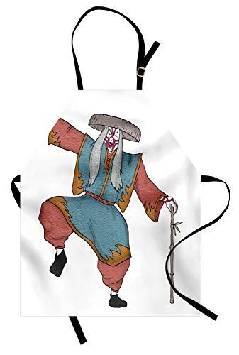 ABAKUHAUS Kabuki-Maske Kochschürze, Kultureller asiatischer Charakter, der mit traditionellem Hut aufwirft, bilden und Kostüm-Druck, Schmutz und Wasser abweichent Moderne Druck Technik, Mehrfarbig