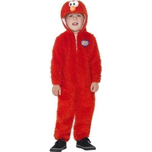 Kinder Jungen Mädchen Sesamstraße Elmo Rot Onesie TV Zeichentrickserie Kostüm Kleid Outfit Büchertag - Rot, 3-4 Years