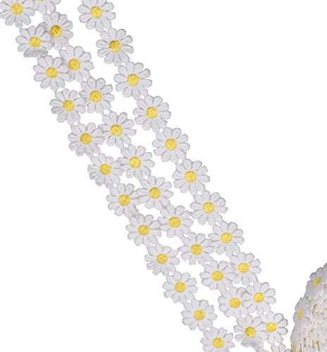 15 Yards Weiß und Dunkelgelb Blume DIY Spitze Applique Sewing Craft Lace Edge Trim Band Kantenbesatz Stoff Stickerei Polyester Für Brautkleider Verschönerung DIY Party Decor Kleidung -