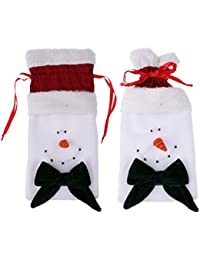 MagiDeal 2 Pieces Festive Christmas Bowknot Snowman Candy Drawstring Gift Bags Children Treat Pouch Party Decoration