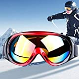 H1010 Unisex Dual Layers Anti-Fog Windprooof UV Protection Spherical Goggles with Adjustable Widened Strap (Red+Black)