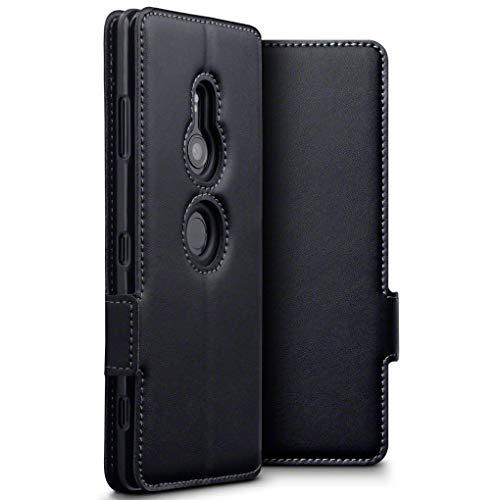 TERRAPIN, Kompatibel mit Sony Xperia XZ3 Hülle, ECHT Leder Börsen Tasche - Ultra Slim Fit - Betrachtungsstand - Kartenschlitze - Schwarz EINWEG