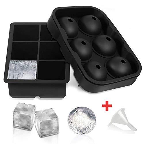 Ice Cube Schalen, 【 2】 slgol Flexible Silikon Kugel Whiskey 6Ice Ball Maker mit 6großen quadratisch Ice Cube Formen für Whiskey Cocktail oder Babynahrung-wiederverwendbar und BPA-frei
