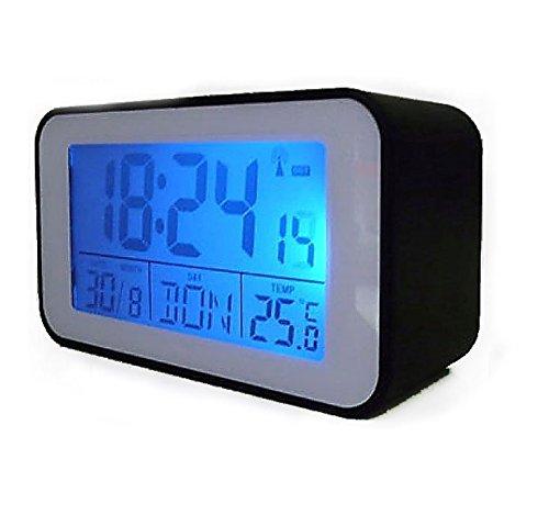 Reloj despertador radiocontrolado con Termómetro Despertador (sn4491) en negro