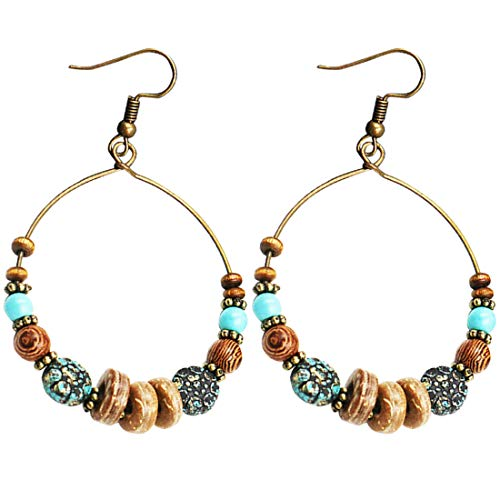 Pendientes Bohemian Big Circle Hook Mujeres Moda Faux Turquesa Turques
