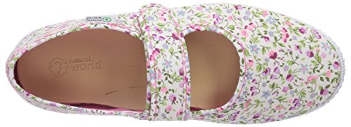 Natural World MERCEDES VELCRO FLORES Mädchen Flache Hausschuhe Pink (Fuchsia)