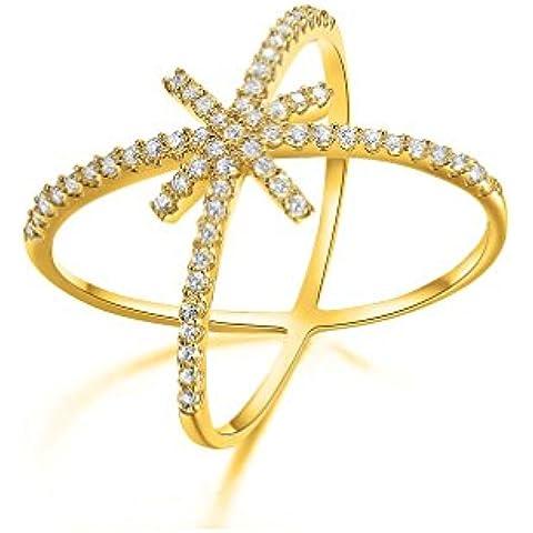 NEWBOX Unique Simbolo X Croce placcato oro giallo 18kt con zirconi, anello per donne e ragazze
