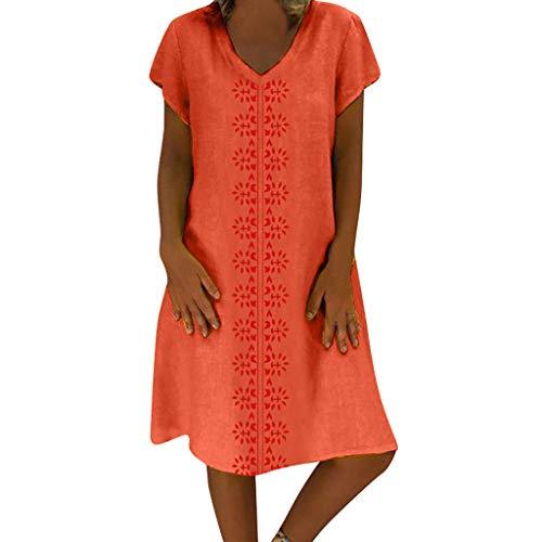 Heiß kleider für Damen Liusdh Sommer gedruckte lässige Taste Langarm lose großes Kleid Maxikleider(Orange1,2XL) Fashion Dress Forms
