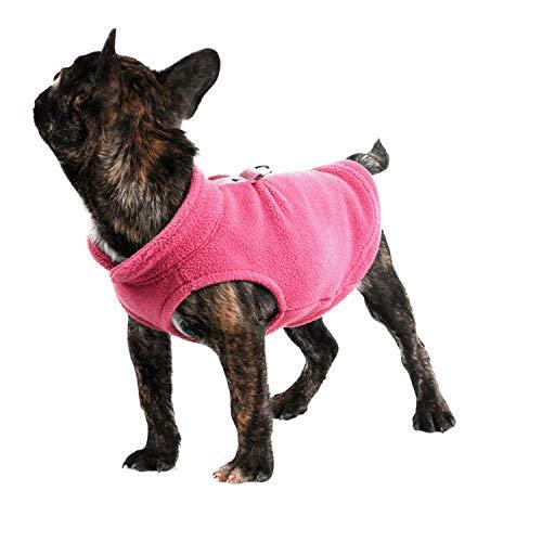 Wide.ling Pet Dogs Tuch Fleece Kaltes Wetter Mäntel Einfarbig Hunde Weste Jacke Dogs Harness für Small Medium Dogs Sweater (Rosa, S)