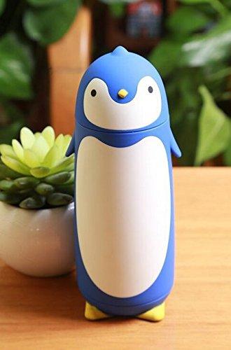 Bluelover 280ML sveglio creativo in acciaio inox coppa personalizzata Thermos Cup per bambine e bambini del pinguino Coppa boccetta di vuoto di caffè della tazza-Blue + Accessori per Chitarra