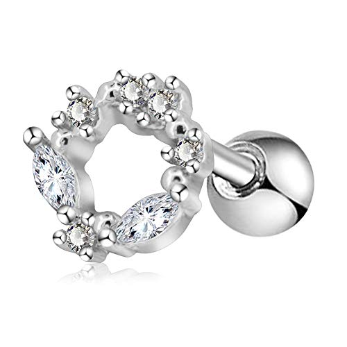 71e4b5b3d OUFER Cartilage Earring Stud 16G Surgical Steel Tragus Helix Ring Stud CZ  Paved Vine Top Tragus