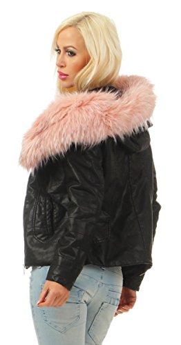 4942 Fashion4Young Damen Winter Jacke Kunstleder Kapuze Webpelz Winterjacke Bikerjacke Lederimitat Schwarz-Rosa