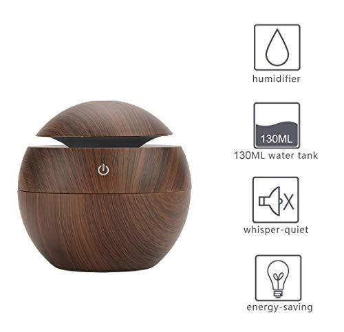 Aroma Diffuser, Luckyies 130ml USB Holzmaserung Ultraschall Luftbefeuchter Oil Diffusor Humidifier mit 6 Farben ändern LED Lichter für Büro, Yoga, Raum, Schlafzimmer, Babyzimmer
