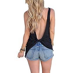 Fliegend Top Mujer Sin Mangas Camiseta Sin Espalda Blusa Cuello Redondo de Color Sólido Camisa Suelta Blusas Sexy Suave Cómodo Negro S