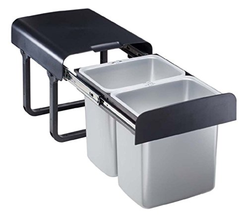 Einbau Abfallsammler 2x16 Liter grau ab 40er Schrankbreite Mülleimer Vollauszug