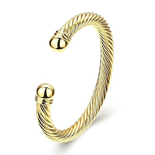 Bishilin Vergoldet Damen Armband Nickelfrei Poliert Rund 9 MM Charm Armreifen Indisch Gold