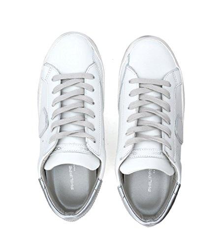 Philippe Model Sneaker Paris in Pelle Bianca e Argento Bianco