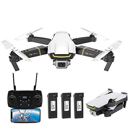 Goolsky GLOBAL Drone GW89 RC Drohne mit Kamera 1080P WiFi FPV Geste Foto Video Höhe Halten Faltbare RC Selfie Quadcopter mit 3 Batterien,Weiß
