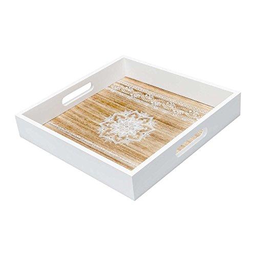 Black Velvet Studio - Bandeja Mandala MDF chapado madera pawlonia, color blanco y natural. De estilo nórdico con estampado étnico 30x30x5 cm.