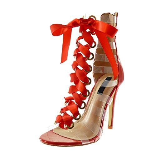 Angkorly Damen Schuhe Sandalen Pumpe - Stiletto - Römersandalen - Hohe - Schnürsenkel Aus Satin - Multi-Zaum - Transparent Stiletto High Heel 11 cm - Rot B7771 T 39