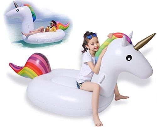 Jasonwell Riesiger aufblasbarer Einhorn Pool Floß mit speziellen schnell Ventilen (Einhorn für Kinder)