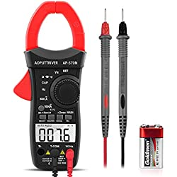 Pince Ampèremétrique AP-570N Clamp Meter TRMS 6000 Compteurs Sans contact Multimètre Plage automatique AC / DC Tension Courant Résistance Capacité Fréquence Température Diode Test (Rouge)
