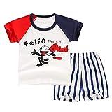 CYDKZMEPA Traje de Manga Corta para niños, Traje de Camiseta Infantil con Marca de Agua de Dibujos Animados, Servicio a Domicilio para bebés, Ropa de algodón para bebés, 90 cm, Ratones Rojos y Azules
