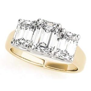 Damen-Ring Verlobungsring 14 Karat (750) Rotgold Weißgold 1,10 Karat Smaragdschliff Moissanit Größe O P Q L K J H G N M