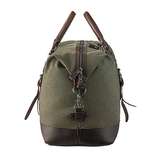Leder Reisegepäck P.KU.VDSL Weekender Tasche Duffle Bag Handgepäck Canvas Leather Wasserdicht für Herren Damen(A-Khaki) A - ArmyGreen