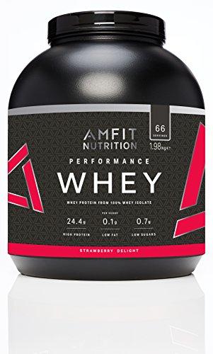 Marca Amazon - Amfit Nutrition Performance Proteína Whey de suero de leche (100% aislados de suero de leche), sabor fresa 1980 g